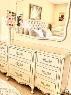 French Provincial Dresser With 1 Night Stand And Bed Framing. for Sale in University Place,  WA
