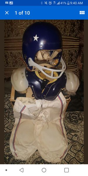 In Box Vintage 1950's Youth Pro Football Helmet Shoulder Pads Pants & Pads for Sale in Pinellas Park, FL