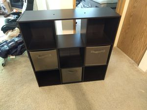 9 cube storage organizer shelf + 3 bins for Sale in Shoreline, WA