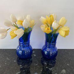 Set Of 2 Vintage Cobalt Blue Short Vases for Sale in San Jose,  CA