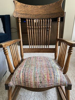 Antique wood rocking chair with hand carved detailing for Sale in Chantilly, VA
