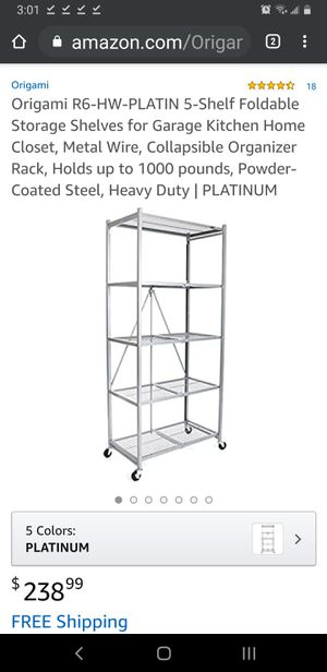Origami R6-HW-PLATIN 5-Shelf Foldable Storage Shelves, Metal Wire, Collapsible Rack, 1000lb Hold, Powder-Coated Steel, Heavy Duty - $150 for Sale in Phoenix, AZ