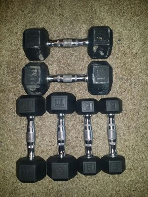 Rubber dumbbells. Pair of 5s, 10s, 15s. for Sale in Coconut Creek, FL