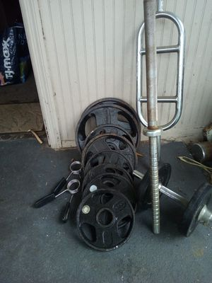 Weights at 85b of weight barbell curl and bar for Sale in Pompano Beach, FL
