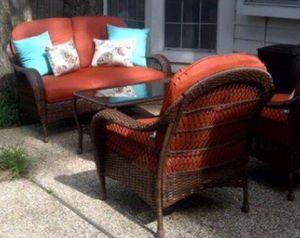 New!! 4 pc cushioned coffee table Patio set, conversaion set, outdoor furniture set, Patio Furniture , orange for Sale in Phoenix, AZ
