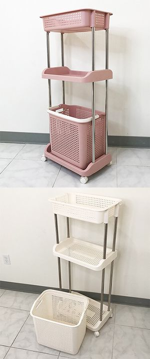 """New in box $25 Home 3-Tier Laundry Storage Cart w/ Bag Basket Rolling Wheels, 18x12x43"""" for Sale in Pico Rivera, CA"""