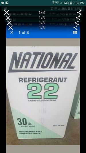 R22 refrigerant 30lb national factory sealed box and sealed valve for Sale in Tracy, CA