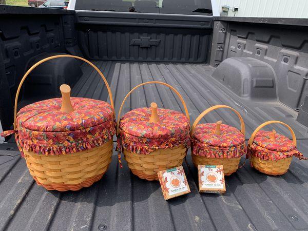 4 Longaberger pumpkin basket set