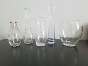 Lot of 5 Clear Glass Vases for Sale in St. Louis, MO