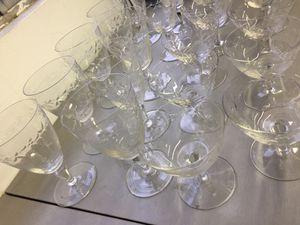 Vintage glassware etched glass 21 pieces for Sale in La Mesa, CA