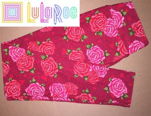 LuLaRoe OS Leggings Hearts Roses Red for Sale in East Peoria, IL