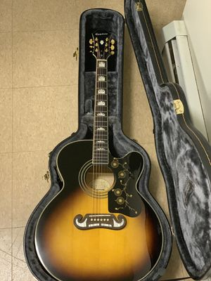 Acoustic/Electric Ephiphone EJ-200 excellent condition like new with hard case for Sale in Acton, MA