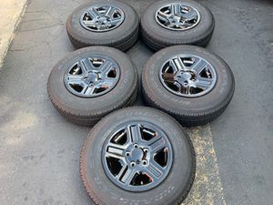 "(5) 16"" Jeep Wrangler Wheels + 225/75R16 Goodyear - $425 for Sale in Santa Ana, CA"