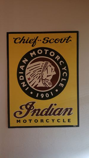 Large Custom Painted Antique Indian Motorcycle Sign for Sale in Steilacoom, WA