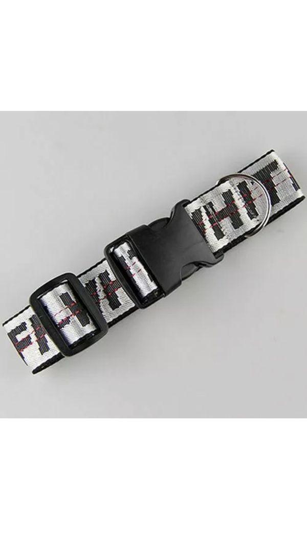 Fashion Dog Collar Off White Leash & Adjustable Collar