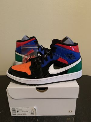 Air Jordan 1 Mid Multi-Color Black Patent Leather Womens Size 11 / Mens Size 9.5 (Pick Up) for Sale in Sunrise, FL