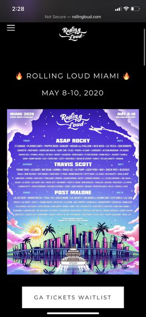 Rolling Loud Tickets 2020 for Sale in Dolton, IL