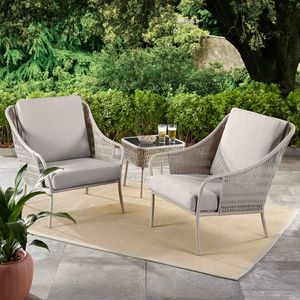 50% OFF 3-Piece Patio Woven Chat Set with Gray Cushions (Purchase via PayPal Invoice with Free Shipping) for Sale in Philadelphia, PA
