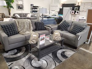 Modern Fabric 2 PC Sofa and Loveseat Set, Grey for Sale in Santa Fe Springs, CA