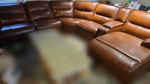 Cognac Brown Leather Sectional Sofa for Sale in Joppa, MD