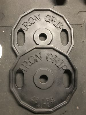Iron Grip Olympic weights (2x45s) for $80 Firm!!! for Sale in Sun Valley, CA