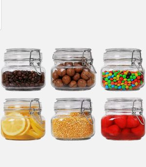 ComSaf Airtight Glass Canister Set of 6 with Lids 17oz Food Storage Jar Square for Sale in Garden Grove, CA