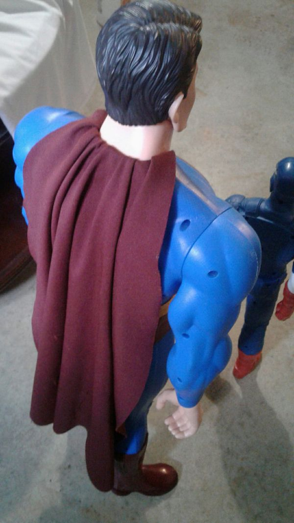 Pre-owned Captain America And Large Super Man Figures $40.00