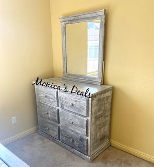 Solid wood dresser with mirror $400 for Sale in Carson, CA