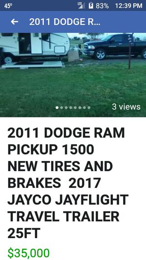 2011 DODGE RAM PICKUP AND 2017 JAYCO JAYFLIGHT TRAVEL TRAILER 25FT W $500.00 SWAY HITCH NEW TIRES AND BRAKES trailer alone reduced to 15,500 for Sale in Amarillo, TX