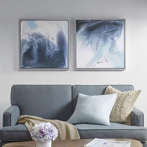 Wall Art-Multi Blue, White in Silver Frame Modern Home Décor Painting Gel Coat Canvas for Sale in Chicago, IL