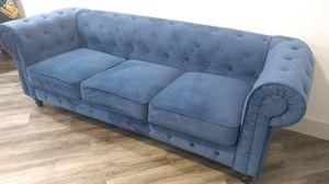 Navy Blue Velvet Couch for Sale in Chandler, AZ