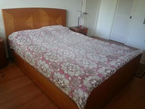 Baker satinwood queen size bed frame with headboard for Sale in West Palm Beach, FL