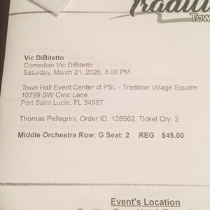 Comedy Show Vic DiBitetto 2 Tickets Rescheduled To Saturday November 21,2020 for Sale in Port St. Lucie, FL