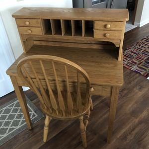 Solid Oak Desk and Chair for Sale in Dublin, OH