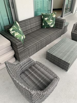 Gray Three Seat Outdoor Sofa. (Cushions not included). for Sale in West Palm Beach, FL