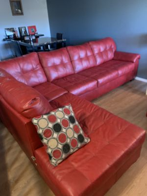 Red leather sectional couch for Sale in Roselle, IL