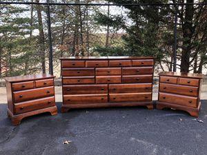 Bassett Furniture Solid Wood Long Dresser With 2 Nightstands for Sale in Woodbridge, VA