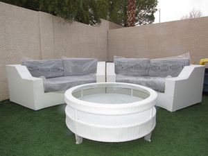 White & Gray Outdoor Wicker Patio Furniture Sectional Sofa Round for Sale in Las Vegas, NV