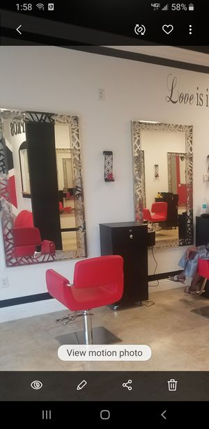 Salon Stations including CABINET, CHAIR & MIRROR for Sale in Boca Raton, FL