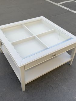 IKEA LIATORP Coffee Table with Storage Gray Good Condition for Sale in Santa Ana,  CA