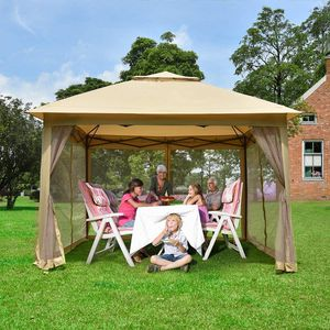 New 11x11 ft Portable Pop Up Gazebo Tent Canopy with Mosquito Net Curtain (TAN) for Sale in Riverside, CA