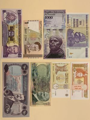 8 PCS World Mix Banknote Set includes Zimbabwe 10.000.000.000 Dollars (10 Billion) Hyperinflation Banknote Currency Money for $15 for Sale in Atlanta, GA
