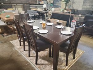 6 PC Dining Set w/ Extendable Table, Rustic Brown for Sale in Garden Grove, CA