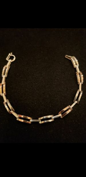 $49! DEIDRE 18K REAL Gold and Sterling multi colored link bracelet! Marked 18K and 925. 7 inches. 1/4 inch wide. Beautiful bracelet! for Sale in Seminole, FL