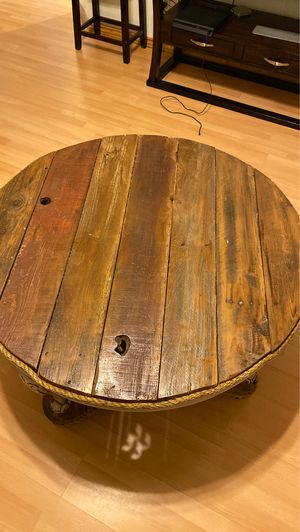 Beautiful Handmade Antique wooden round table . In good condition. for Sale in Fresno, CA