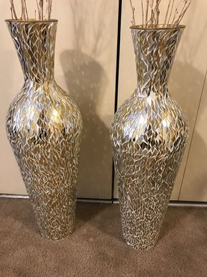 """2 large 30"""" tall gold silver mosaic vases free bamboo sticks click on my profile picture choose my offers for more listings inbox me for Sale in Gaithersburg, MD"""