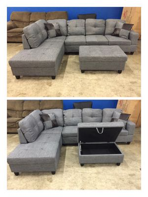 Grey linen sectional couch and storage ottoman for Sale in Tukwila, WA