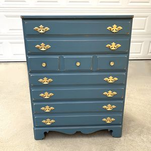 Awesome blue and gold shabby distressed solid wood dresser for Sale in San Diego, CA