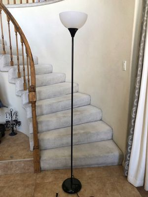 Floor lamp and clear trash can for Sale in Las Vegas, NV