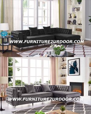 New black or grey glam velvet fabric sofa sectional with jeweled tufting and nailhead trim for Sale in Corona, CA
